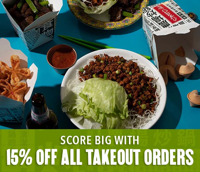 Score big with 15% off all takeout orders